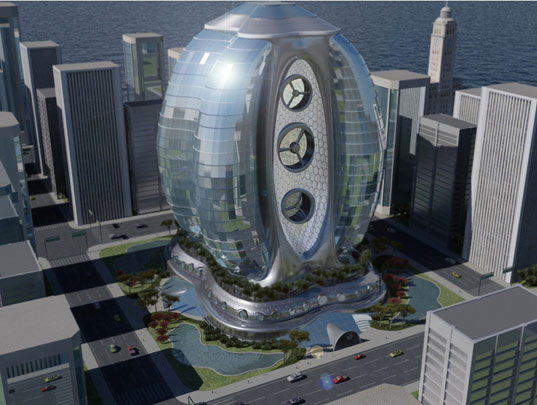 eco egg skyscraper, sustainable architecture, green building, michael rosenthal associates, green high-rise, envision green hotel, hospitality design radical innovation competition, alternative energy