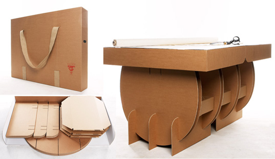 Cutting Table No.1, Liborius Reykjavik, flatpack tables, flatpack designs, portable tables, portable work spaces, affordable work tables, recycled cardboard furniture, cardboard furniture, flatpack cardboard furniture, flatpack1.jpg