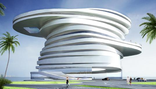 abu dhabi, helix hotel, leeser architects, sustainable design, green building, sustainable architecture, natural ventilation, daylighting, solar power, wind power, spiral hotel