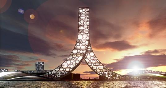 Ren Building Night View, Bjarke Ingels Group, Shanghai Proposal