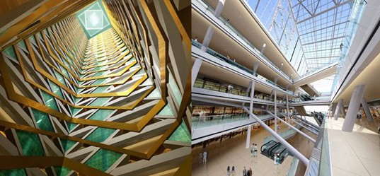 Interior of TEDA Towers, Tianjin, China, Atkins, Vertical Wind-Powered Turbines, Sky-Gardens