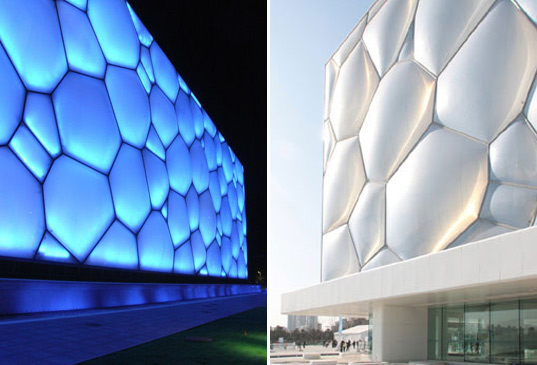 beijing watercube, chinese national aquatic center, beijing olympic building, sustainable architecture, green building, australian institute of architecture award, ptw architects, arup