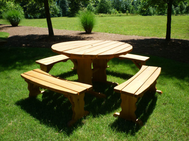Stylish Wooden Picnic Tables For Vacation Inhabit Zone