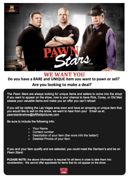Pawn Stars Casting Flyer