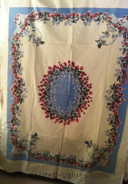 Strawberry Basket and Azurite Blue vintage print tablecloth