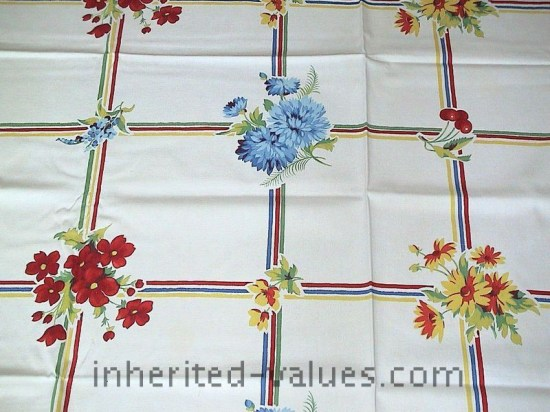 Vintage WILENDUR Bright FRUIT & FLORAL Grid Tablecloth