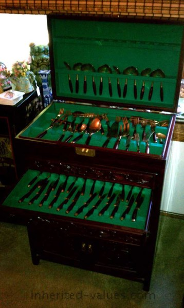 rosewood dragon utensils cabinet