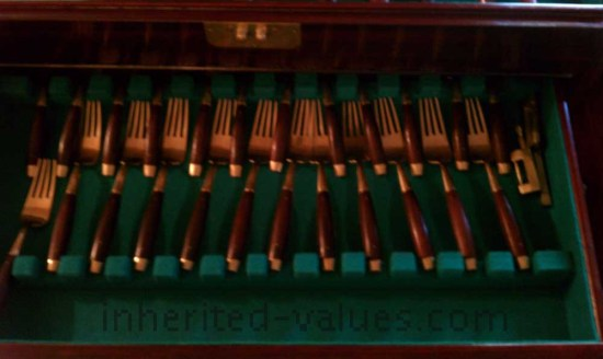 vintage bronzeware flatware rosewood handles