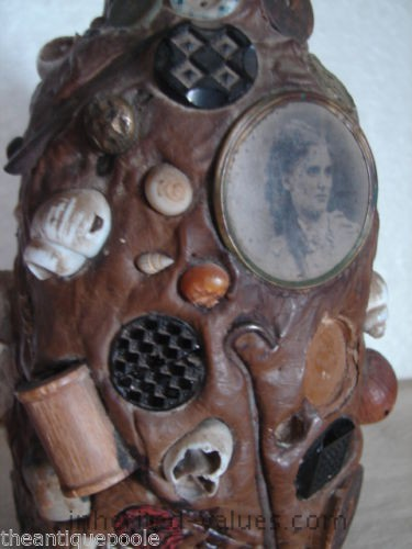 Antique Folk Tramp Art Memory Bottle