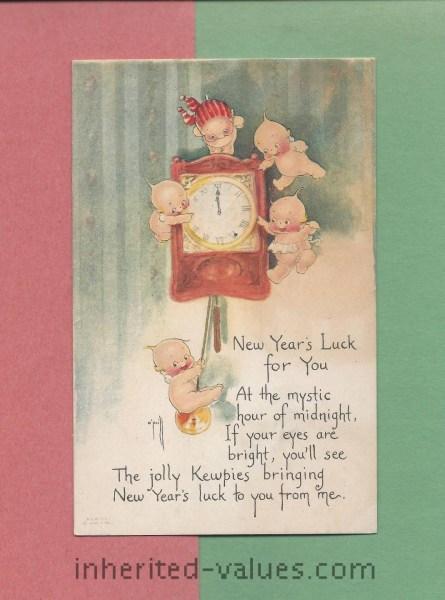 vintage kewpie new years eve postcard