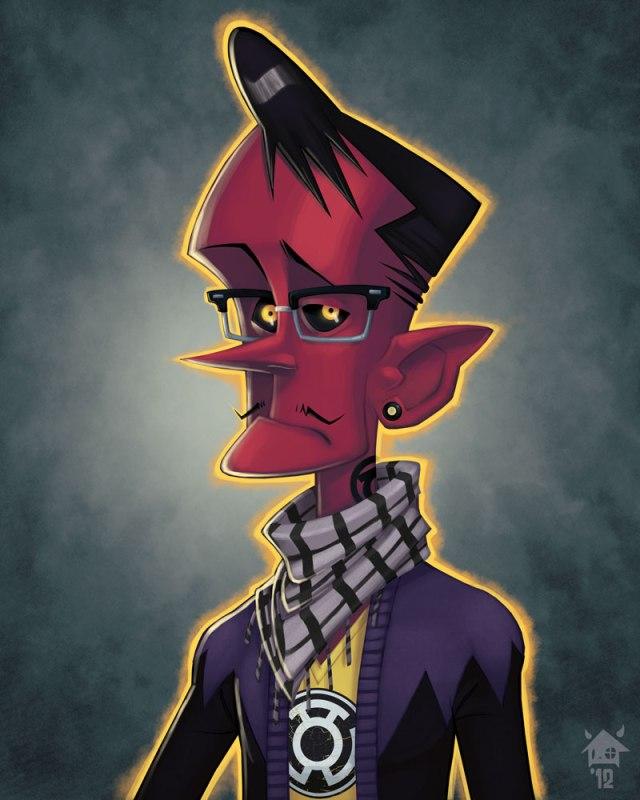 Ilustrações de Jovens super vilões na escola: Sinestro, Hipster