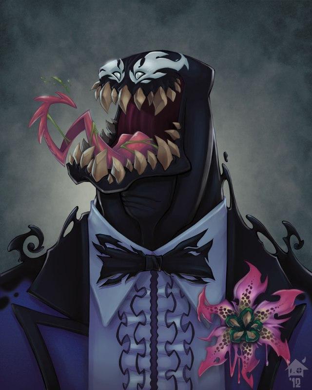 Ilustrações de Jovens super vilões na escola: Venom, o rei da festa