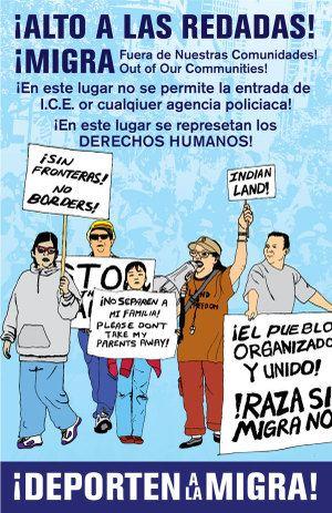 Cartel de Melanie Cervantes por los derechos de los inmigrantes