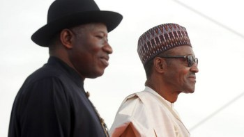 Ex President Jonathan and President Buhari: (c) GovernmentZA via Flickr