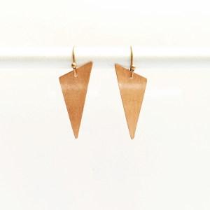 geometric copper triangle earrings
