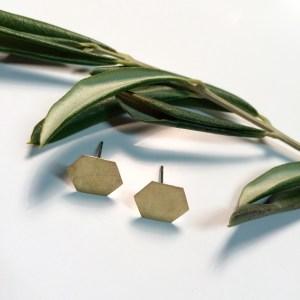 Hexagon Brass Earstuds