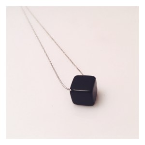 Black resin cube necklace