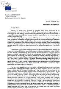 Contre la charte européenne des langues régionales, JL Mélenchon écrit aux députés