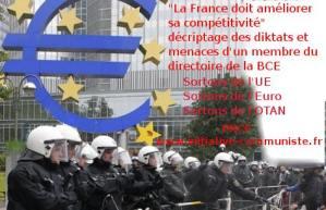 """""""La France doit améliorer sa compétitivité"""" décryptage des diktats et menaces d'un membre du directoire de la BCE dans une interview donnée au journal Le Monde"""