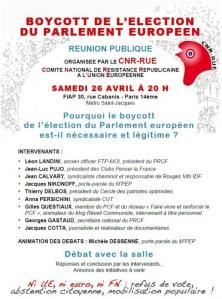 CNR-RUE Meeting de lancement de la campagne de Boycott de l'élection européenne – 26/04/2014 Paris FIAP 19h30