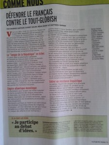 Défendre le français contre le tout-globish  [une tribune à lire dans Marianne]