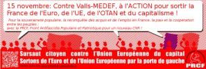 Manifestation 15/11 : Contre Valls-MEDEF, à l'action pour sortir la France de l'Euro, de l'UE, de l'OTAN et du capitalisme