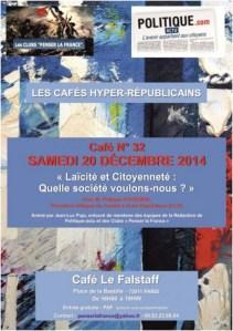 """Samedi 20 décembre 2014 – Café N°32 – « Laïcité et Citoyenneté : Quelle société voulons-nous ?"""""""