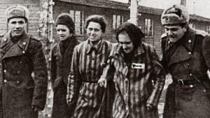 Des soldats soviétiques libérant les détenus du camp d'Auschwitz - Janvier 1945