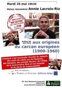 «Aux origines du carcan européen» – Annie Lacroix-Riz #Paris #conférence 26 mai