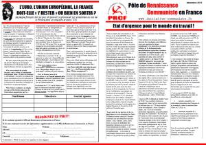 Etat d'urgence pour le monde du travail [Tract – PRCF]