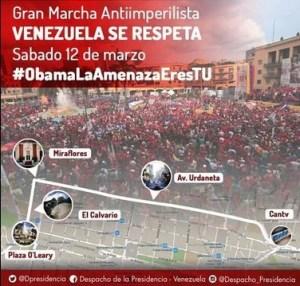 Venezuela : manifestation contre l'ingérence impérialiste et la contre révolution #ObamaVenezuelaNoSeRinde