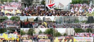 GRECE : GRÉVE GÉNÉRALE ET MANIFESTATIONS  CONTRE LES MESURES UE-TSIPRAS CONTRE LES RETRAITÉS . LE PAME EN TÊTE.