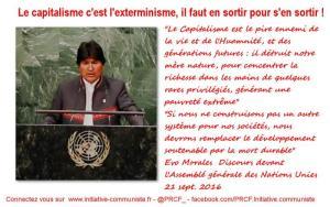 #UNGA «Le Capitalisme est le pire ennemi de la vie et de l'Humanité» – Evo Morales