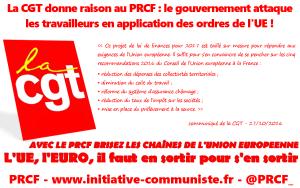#GOPE La CGT donne raison au PRCF : le gouvernement attaque les travailleurs en application des ordres de l'UE !