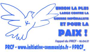 Mobilisons nous tous ensemble pour la Paix ! l'appel du PRCF aux citoyens et aux organisations démocratiques
