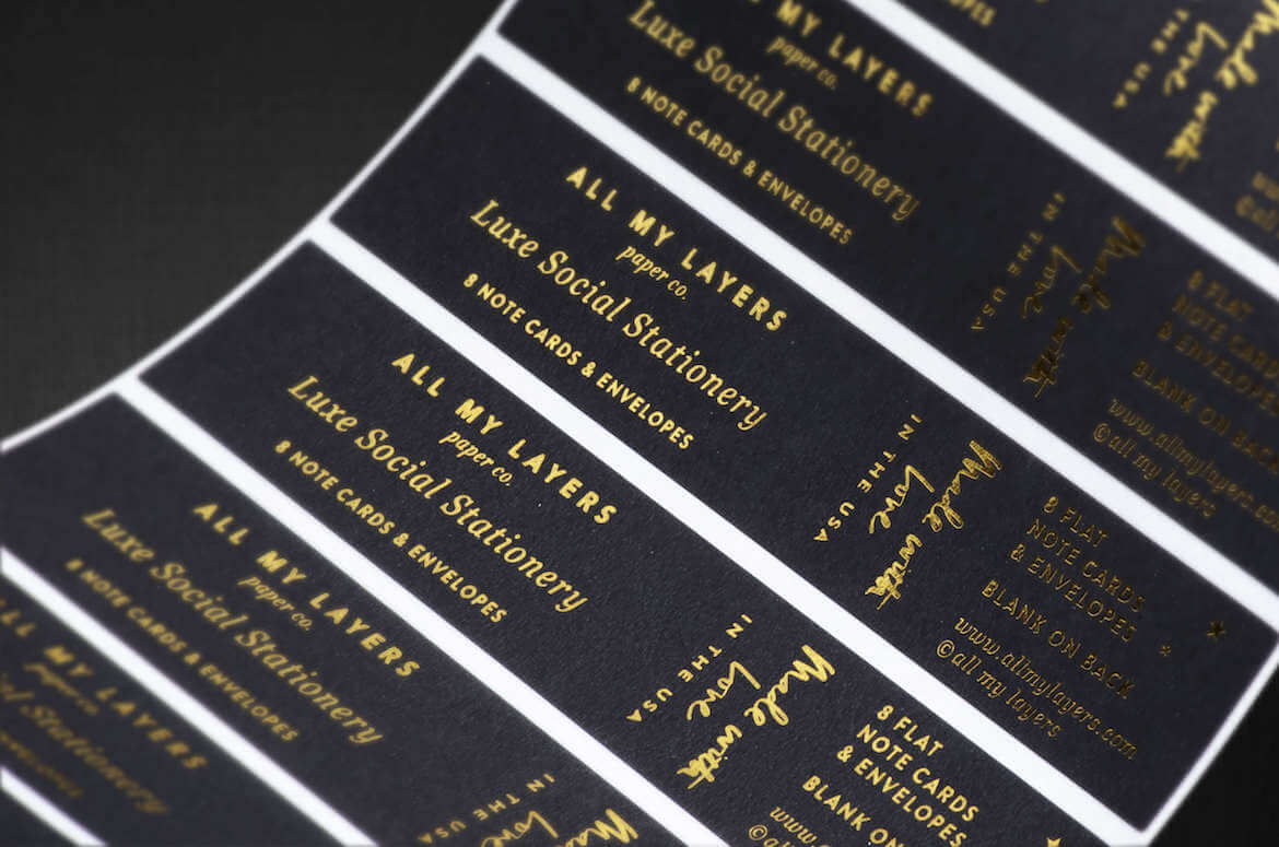 custom foil stamped labels