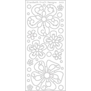 Big Flowers Peel-Off Stickers – Silver