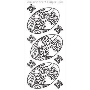 Daisies In Ovals Peel-Off Stickers – Black