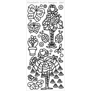 Flower Cuties 2 Peel-Off Stickers – Silver