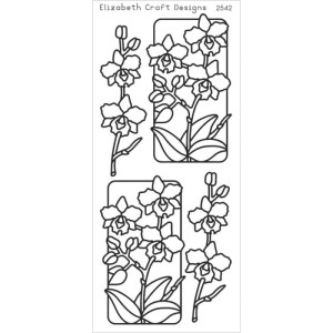 Flowers In Frames 3 Peel-Off Stickers – Silver