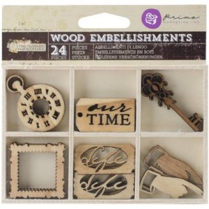 Time Traveler Laser Cut Wood Icons In A Box 24 Pieces – 6 Designs