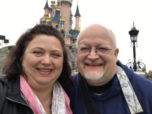 Steven and Lori in front of castle