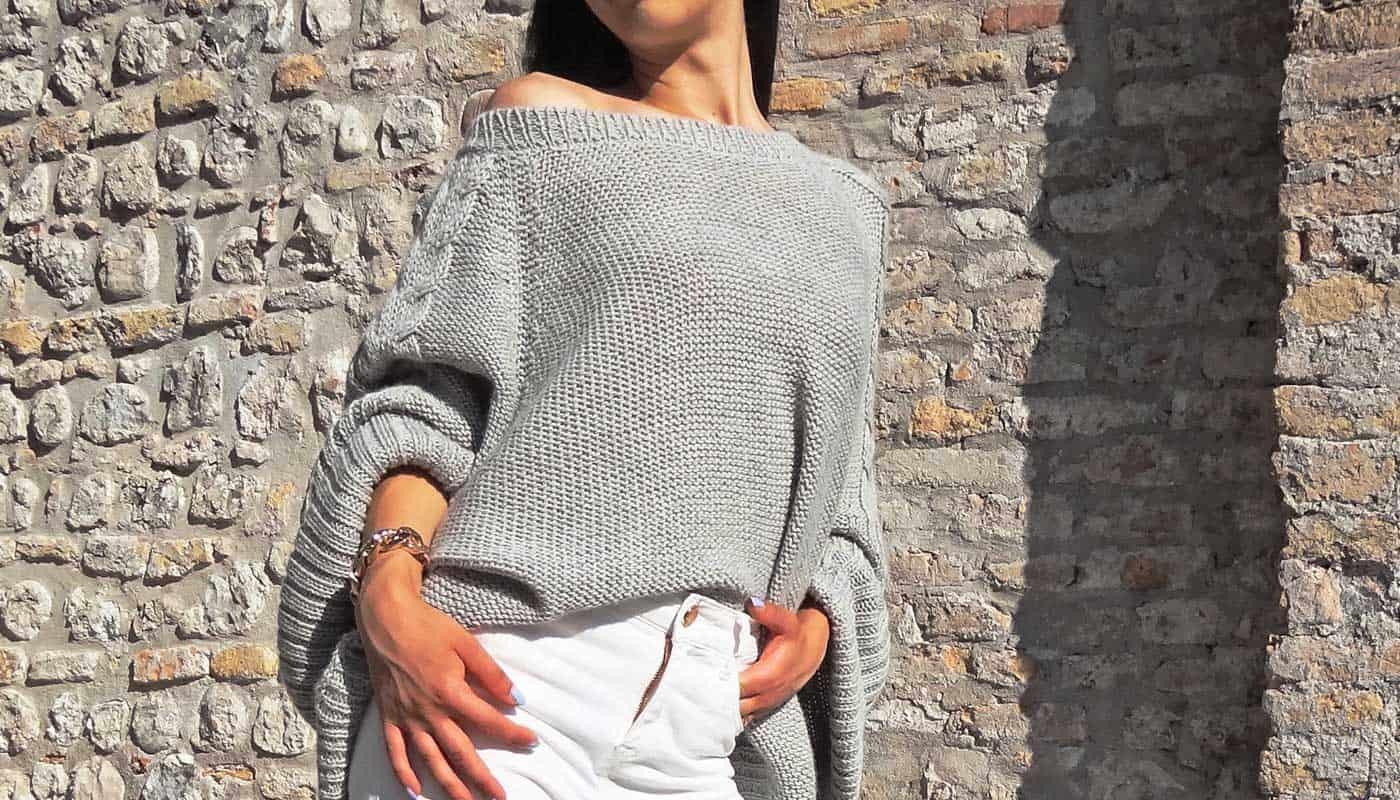 maglione grigio sexy donna design pura lana alpaca primavera estate 2019