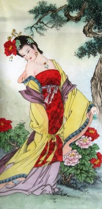 Chinese Famous Four Beauties Painting Yang Guifei one of ...