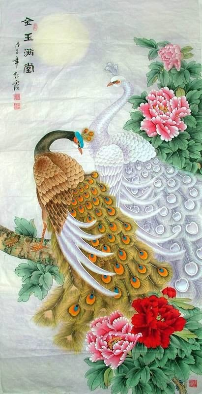 Chinese Peacock Peahen Painting Peafowl Treasures Fill The