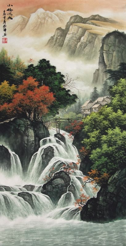 Chinese Waterfall Painting 1135034 50cm x 100cm19 x 39