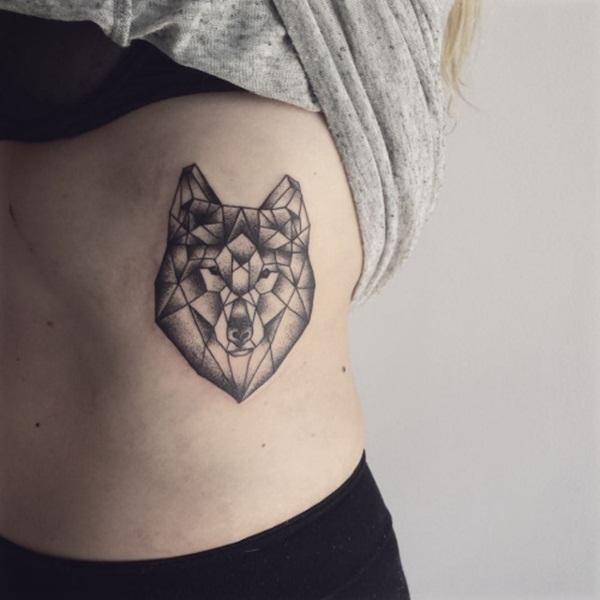 Simple Geometric Wolf Tattoo Design