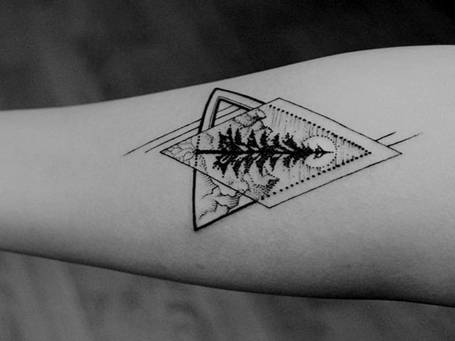 Minimalist Wave And Mountain Tattoo