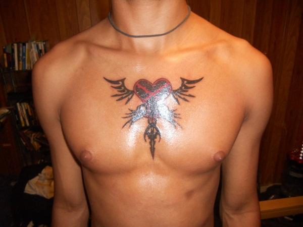 Human Heart Tattoo On Chest