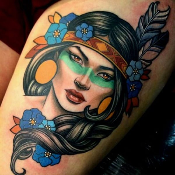 Native American Female Warrior Tattoo